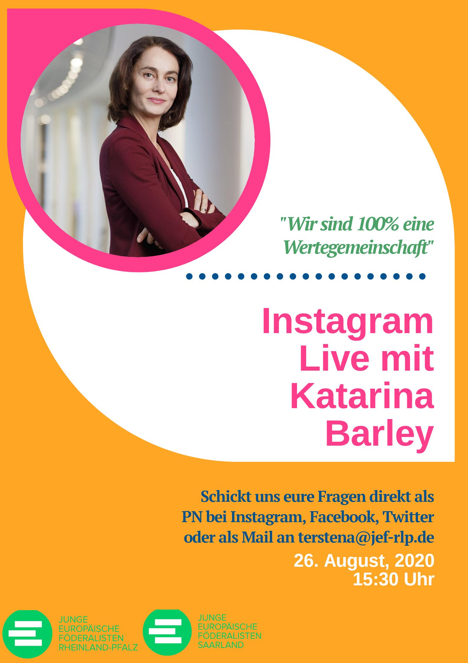 Flyer, Instagram-Live mit K. Barley